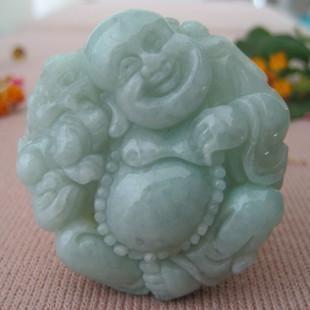 Kostenloser Versand - Jade Amulett Anhänger, handgeschnitzt, die Form des Lachenden Buddha Anhängers.