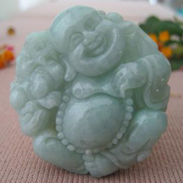 Wholesale Hand Carved Buddhas - Free Shipping - jade amulet pendant, hand-carved, the shape of the Laughing Buddha pendant.