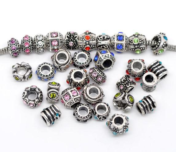 best selling 300 Mixed Rhinestone Spacer Beads Fit Charm Bracelet