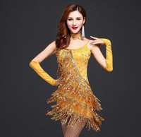 Wholesale girls latin dance costume - Girls Lady Sexy Latin Dance Sequined Tassels Dress Cocktail Club Wear Party Evening Costume 3 Colors