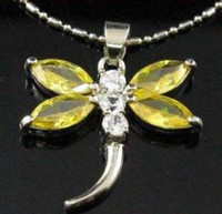 Wholesale Citrine Wholesale - citrine crystal dragonfly pendant with necklace (2pc)