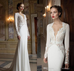 Wholesale Sexy Dressess - 2016 Berta V Neck Lace Couture Wedding Dresses Long Sleeve Mermaid Style Court Train Backless 2015 Bridal Gowns Custom Made Dressess