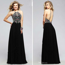 Wholesale Sexy Orange Colored Dresses - Faviana 2016 Fall Modern Halter Black Chiffon A Line Formal Evening Dresses Gorgeous Colored Beads Charming Backless Simple Prom Party Gown