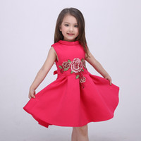 Wholesale Chinese Red Formal Dress - Girls Dress High-grade Europe Dresses Embroidered Princess Costume 2016 Spring Party Dress for Kids Summer Dresses for Children