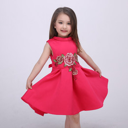Wholesale Chinese Princess Girl Costume - Girls Dress High-grade Europe Dresses Embroidered Princess Costume 2016 Spring Party Dress for Kids Summer Dresses for Children
