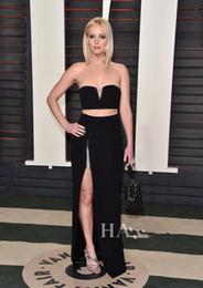 Wholesale Jennifer Lawrence Oscars - 2016 88th Oscar Jennifer Lawrence Celebrity Dresses After Party Sexy Black Split Evening Dress Two Pieces V Neck Gowns