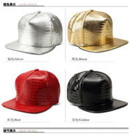 Wholesale peaked cap leather - Alligator Pattern PU Leather Hat Alloy Baseball Cap Hip Hop Hats Peaked Sunhat Adjustable Snapback Caps 4Colors Without Logo