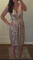 Wholesale Oscar Dress Knee Length - 2016 Oscar Dresses Sequined Short Celebrity Dresses Custom Made Fashion Prom Party Dresses Sheath Knee Length Ruffles Gold Sequines Sexy