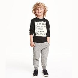 Wholesale American Apparel Trousers - 2016 Boys Kids Clothes Sets Letter Long Sleeve T-shirts+Casual Pants Suits Children Clothing Outfits Home Enfant Clothes Trouser Apparel Set