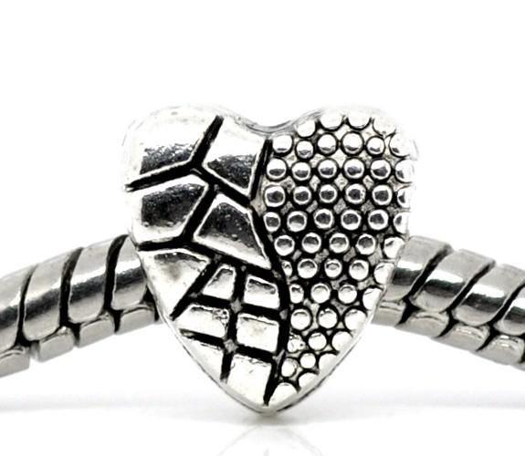 100 stücke tibetischen silber Herz Perlen Fit Bettelarmband 10x9mm