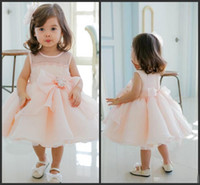2016 Rosa dolce fiore ragazze Abiti Bow principessa strass Toddler Party Dress New Fashion Abiti Little Kids Abiti da cerimonia formale Hot