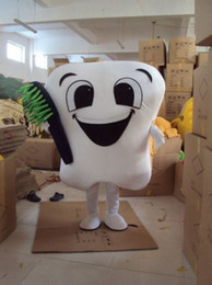 Wholesale Dental Costumes - Tooth Mascot Costume Adult Size Dental Care Costume Facny Dress for Hallow+Halloween Dress Halloween Adult including head, body suit, gloves