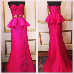 Taffetas En Or Rouge Pas Cher-Real Image Zuhair Murad Robes de soirée Sweetheart Rose Red Peplum Taffeta sirène Prom Party Gowns avec Gold Sash Split Side Celebrity Gow