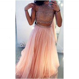 Wholesale Perfect Prom Style - Prom Dresses High Neck Beaded Beading Two Pieces Style Sleeveless Chiffon Floor Length Prom Gowns Perfect