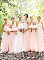 Wholesale Braidsmaid Dresses - 2016 Blush Sweetheart A-line Chiffon Bridesmaid Dresses Braidsmaid Gowns