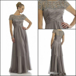 Wholesale Mum Bride Dresses - 2016 Long Mother Of The Bride Dresses Grey Plus Size Short Sleeve Beaded A Line Chiffon Formal Wedding Party Dress Mum Evening Gown