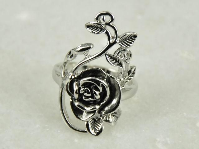 Wholesale--hot sell Natural silver swarovski crystal beautiful flower rose ring jewelry