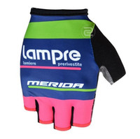 Wholesale Lampre Cycling - 2016 team lampre merida high quality cycling gloves half-finger pro bicykle gloves MTB road racing sports gloves size M-XL