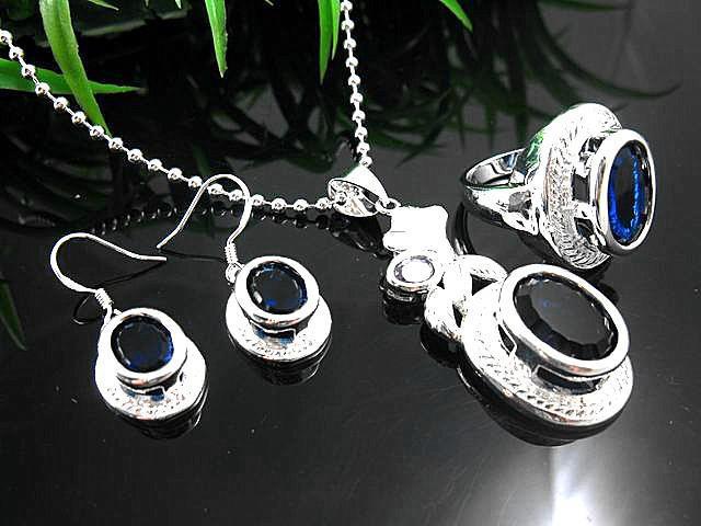 Splendida collana in argento 925 con zaffiro rotondo tondo + orecchini + anelli con scatola gratis