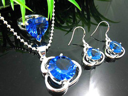 $enCountryForm.capitalKeyWord Canada - Free shipping 925 Silver Round Crystal sapphire Gemstone Necklace+earrings+rings sets