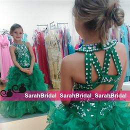 flor menina verde vestido strass Desconto Brilhantes Crianças Pagenat Vestidos De Strass Frisado Verde Flor Meninas Vestidos Sexy Flouncing Fluff Rendas Bola Princesa Vestidos de Festa de Aniversário Vestidos