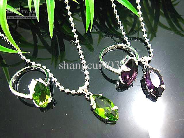 Wunderschöne 925 Silber Grüner Topas und Amethyst Kristalle Edelstein Halskette + Ringsätze