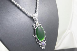 Discount unique luxury gifts - Luxury 925 Silver Unique Green quartz Gemstone CHAIN Necklace fit pretty box