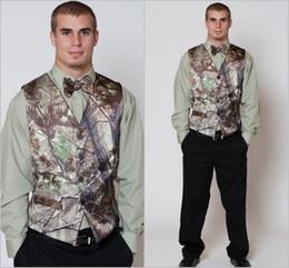 Wholesale Tuxedo Suits Men Printed Vest - 2016 Hot Green Camo Mens Vest with Four Buttons Tuxedo Vests for Men Suit Camouflage Custom Mens Wedding Vest for Groom   Groomsmen