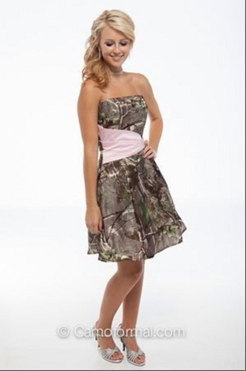 2016 Realtree Short Camouflage Wedding Dresses Strapless Summer Mini Camo Bridesmaid Dresses Pink Wedding Party Dresses