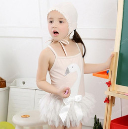 Wholesale Suit One Piece Kid Swimming - Wholesale 2015 new Korean kids swimwear kids bathing suits swan swimming beach split swimming girls tutu lace swimsuits