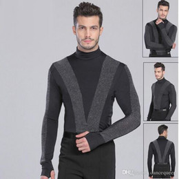 2018 New Arrival Men Dance Shirt Turtle Neck Long Sleeve Mens Latin Shirts Ballroom Dance Tops Clothing For Dance Wear