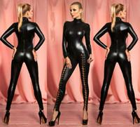 faux couro catsuit cosplay venda por atacado-Mulheres Macacão De Látex Erótico Com Zíper Faux Leather Jumpsuit Traje Dança Pole Bodysuit Lingerie Mais Sexy Cosplay Dança Clubwear