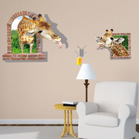 Wholesale Funny Cartoon Movies - Funny 3D Cartoon Giraffe Wall Decal Sticker Two Giraffes Head out of the Window to Drink Wall Poster Kids Room Nursery Wall Paper Art Mural