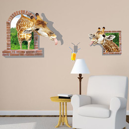 Wholesale Posters For Movies - Funny 3D Cartoon Giraffe Wall Decal Sticker Two Giraffes Head out of the Window to Drink Wall Poster Kids Room Nursery Wall Paper Art Mural