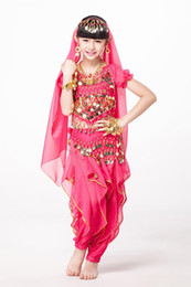 Wholesale Kids Spandex Pants - Children's Day Belly Dance Indian Child Costume Chiffon Coins Belt, Dance Pants Kids Indian Dance Costumes