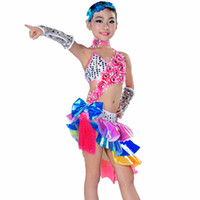 Wholesale ballroom dance women costume online - Girls Dance Costumes Dress Tire Necklace Hand Cuff Latin Girl Dance Dress Kids Ballroom Dresses Dancing Children Dress