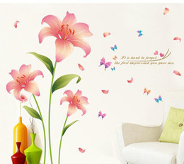 Discount self stick flower decals - Pink Lily Flowers Wall Sticker It's hard to forget the first impression you gare me Wall Quote Decal Poster Living