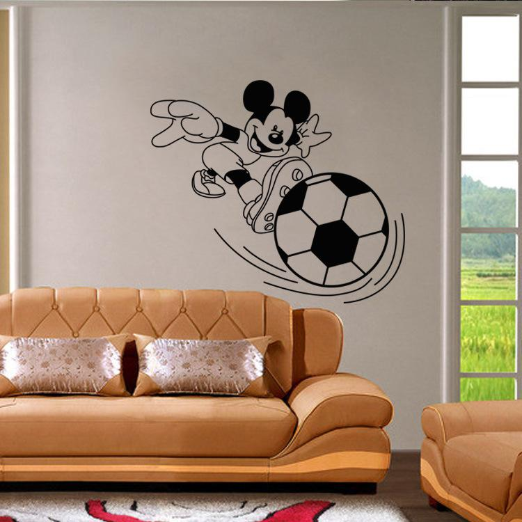 Cartoon Mickey Playing Football Wall Stickers Home Decor Wall Art Mural  Poster Kids Room Nursery Wall Decal Decoration Wallpaper Art Wall Removable  Stickers ...