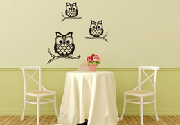 stick trees for walls NZ - Black Three Owls Wall Art Mural Poster Kids Room Nursery Wall Stickers Owls Family Wall Decals Owls On Each Tree Branch Wallpaper Decor