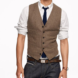 2019 Vintage Brown Tweed Vest Wool Herringbone Groom Vests British Style Mens Suit Vests Slim Fit Mens Dress Vest Custom Wedding Waistcoat