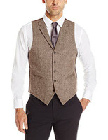 Wholesale British Cloths - 2017 British Style Brown Woolen cloth Groom Vests Slim Fit Notch Lapel Single breasted Sleeveless Men's Suit Vest VintageJacket Waistcoat