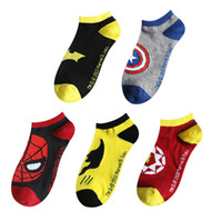 Wholesale Spider Mouth - 2016 new European Popular style men and women lovers Superman Batman socks Spider Man American Hero shallow mouth socks