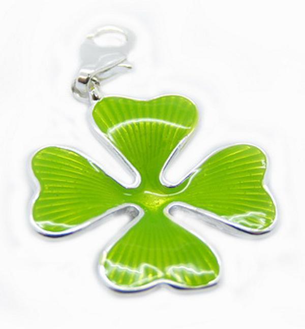 Nice 925 Silver LOVE Green pendentifs collier à quatre feuilles neuf