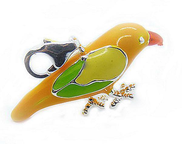 Bons cadeaux en argent 925 beaux pendentifs d'oiseaux colorés chauds
