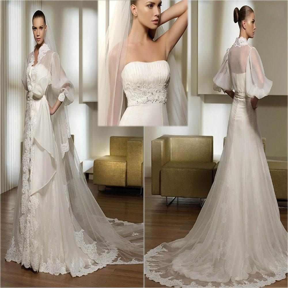 Adding Cap Sleeves Wedding Dress To: Discount New Design Strapless Long Sleeve Pleating