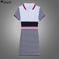 Wholesale Ladies Leisure Shorts - 2016 Spring And Summer New Fashion Leisure Comfort All-Match Stripes Lapel Slim Lady Short Sleeved Dress Hot
