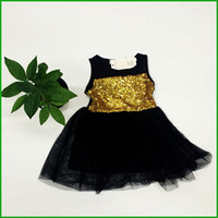 Wholesale Cheap Chinese Fashion Clothes - high quality cheap price girls vestidos gold sequined layered children dresses tutu style lace fashion clothing fast free shipping
