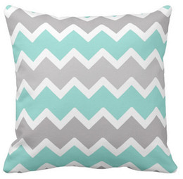 Wholesale Chevron Linen - Aqua blue and gray grey chevron throw pillow 50% cotton and 50% linen material color as shown 16x16inch 18x18inch 20x20inch