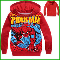 Wholesale Kids Spiderman Jacket Red - Kids Boy Spiderman Long Sleeve Jacket Coat Outfit Clothes Red Blue colors cartoon print batman fashion children boys clothing free shipping