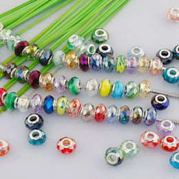 Wholesale Mixed Faceted European - 100PCS Mixed Color Charm Beads Fit European Bracelet, Big Hole Crystal Glass Faceted Jewelry Beads